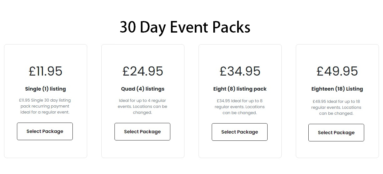 Payment plan for over 30s event listings 2021