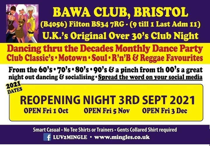 BAWA BRISTOL Over 30s DANCE PARTY nights starts again on Friday 3rd SEPTEMBER 2021